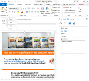 How to add ALT text in Outlook