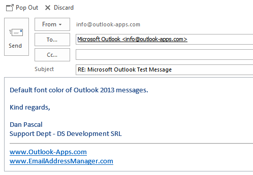 Outlook 2013 default font