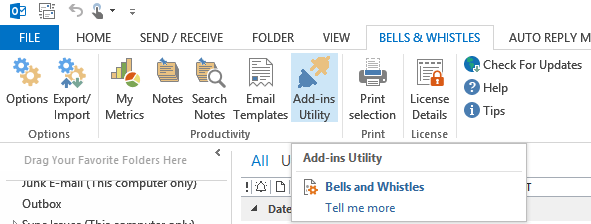 How to access the Outlook add-ins panel