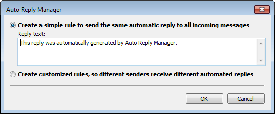 Outlook auto reply setup