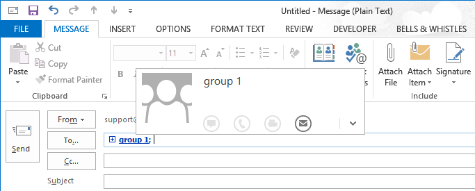 Selecting an Outlook Contact Group