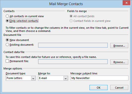 Outlook mail merge options