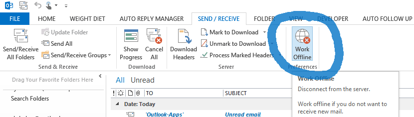 Outlook offline mode