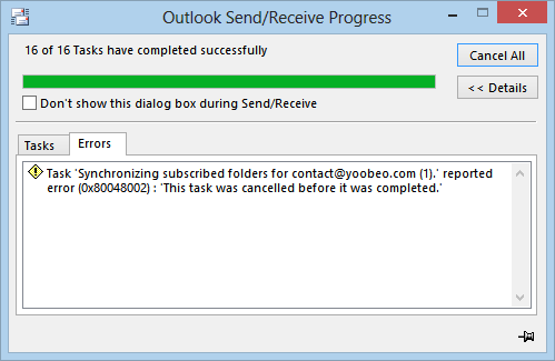 Outlook send error