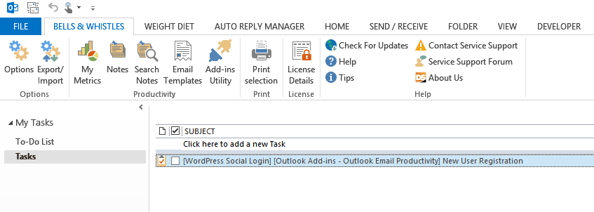 A new Outlook task from email