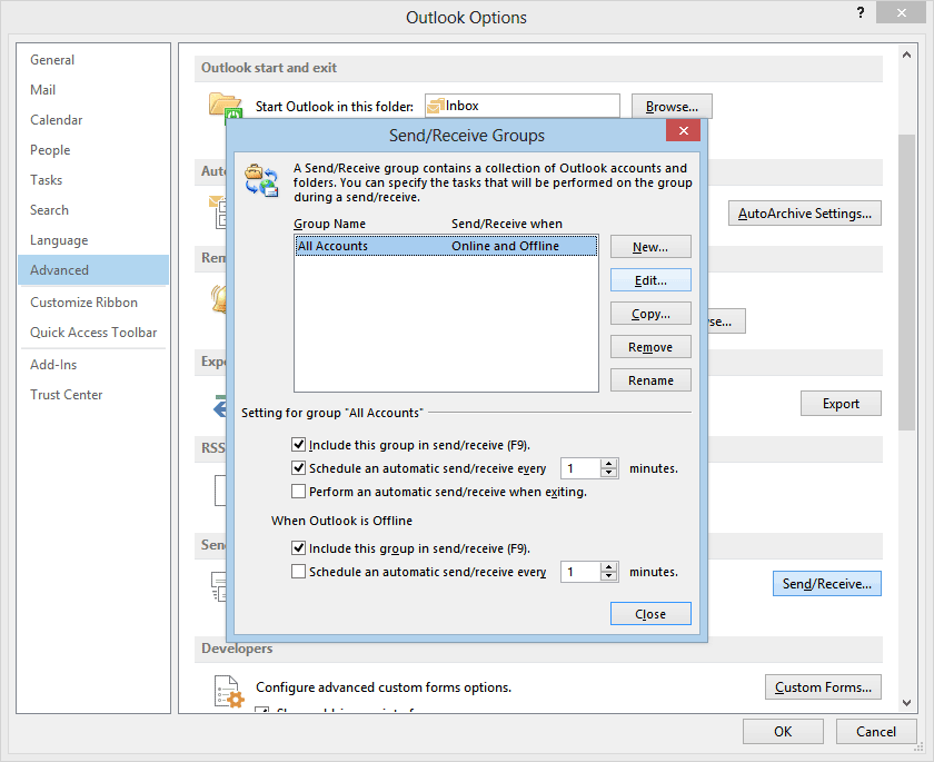 Outlook 2013 headers only