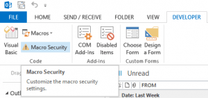 Outlook macro security