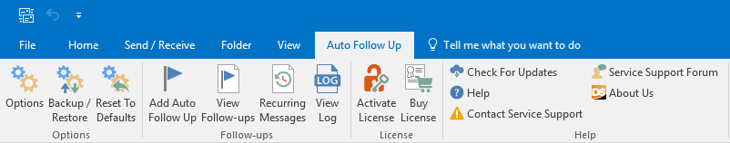 Auto Follow Up Outlook toolbar