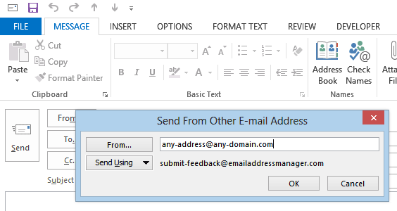 How to send from other email address in Outlook 2013