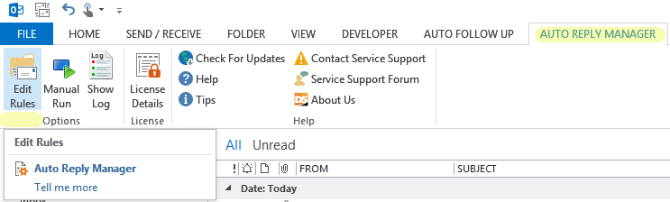Setup auto reply outlook emails