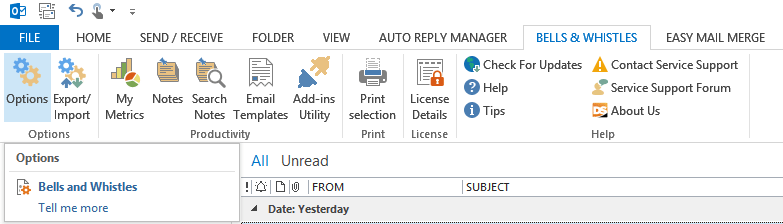 Bells options button in Outlook