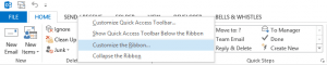 customize Outlook ribbon