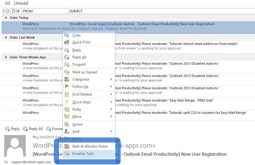 Creating an email from task in Outlook
