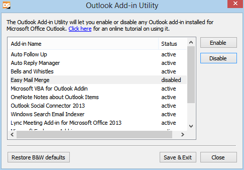 Outlook Addins Window
