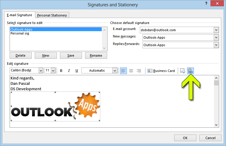 Format Toolbar Hyperlink Outlook Signature Image