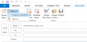 insert clean HTML to Outlook