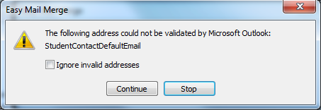 Outlook invalid email address
