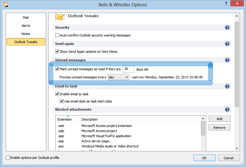 Automatically mark old unread emails as read in Outlook