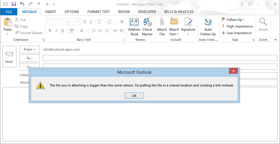 Outlook 2013 max file limit: