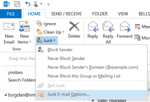 Accessing the Safe Senders list in Outlook