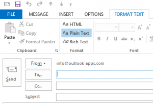 plain text email Outlook