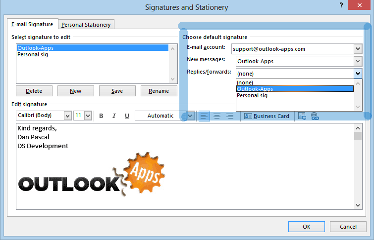 Preload your Outlook signature