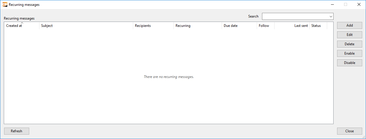 Recurring messages manager window