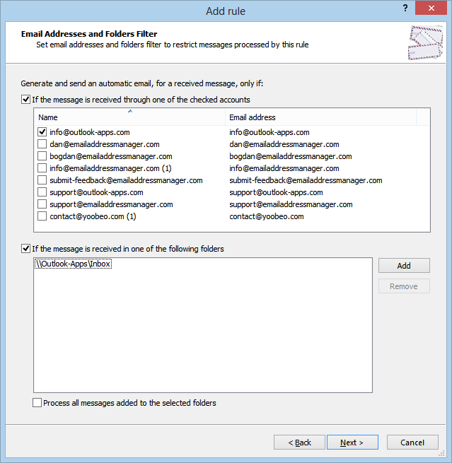 Select auto reply Outlook account