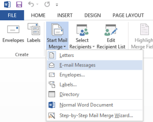 start Word mail merge
